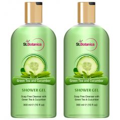 St.Botanica Green Tea And Cucumber Luxury Shower Gel - Green Tea & Cucumber Oils Body Wash - 300 Ml (Pack Of 2)