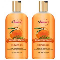St.Botanica Mandarin & Cypress Luxury Shower Gel -  Mandarin & Cypress Oils Body Wash - 300 ml (Pack of 2)