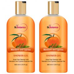 St.Botanica Mandarin & Cypress Luxury Shower Gel -  Mandarin & Cypress Oils Body Wash - 300 Ml (Pack Of 2)