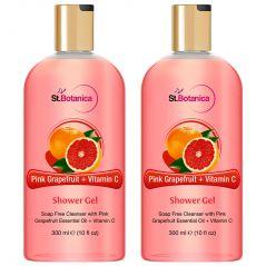 St.Botanica Pink Grapefruit & Vitamin C Luxury Shower Gel - Pink Grapefruit & Vitamin C Oils Body Wash - 300 ml (Pack of 2)