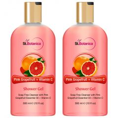 St.Botanica Pink Grapefruit & Vitamin C Luxury Shower Gel - Pink Grapefruit & Vitamin C Oils Body Wash - 300 Ml (Pack Of 2)