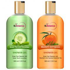 St.Botanica Green Tea And Cucumber + Mandarin Cypress Luxury Shower Gel - 300 ml e 10 fl oz.