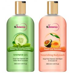 St.Botanica Green Tea And Cucumber Shower Gel + Peach And Avocado Nourishing Luxury Body Wash - 300 Ml E 10 Fl Oz.