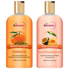 St.Botanica Mandarin & Cypress Shower Gel + Peach And Avocado Nourishing Body Wash - 300 Ml E 10 Fl Oz.