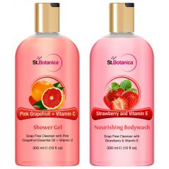St.Botanica Pink Grapefruit & Vitamin C Shower Gel + Strawberry And Vitamin E Nourishing Luxury Body Wash - 300 Ml E 10 Fl Oz.