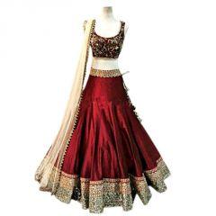 Women's Clothing - Pramukh Group Maroon Banglory Silk Nett Wedding Style Lehenga Choli
