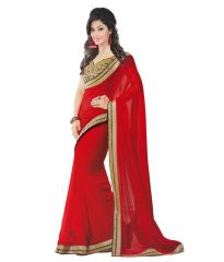 Sarees - Nandani Creation Red Georgette Embroidered Blouse Work Saree (NC_RS_300)