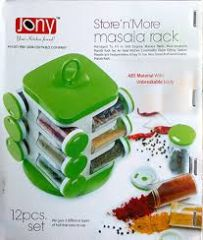 Kitchen racks & holders - Jony Multipurpose Revolving Spice Rack 12 Piece Condiment Set