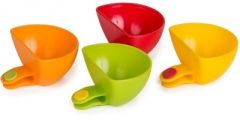 4PCS SHOPOS MULTI-PURPOSE MINI KITCHEN PLATE PARTNERS PLASTIC CLIP BOWL CUP(MULTI COLOR)
