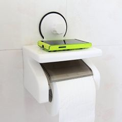 Waterproof Bathroom Toilet Tissue Paper Roll Holder With Power Suction Cup