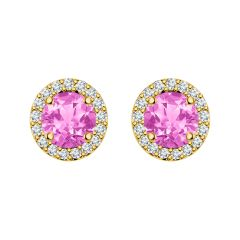 Silver Dew 925 Pure Silver Pink Sapphire Halo Screw Back Earring For Ladies & Girls SDE041