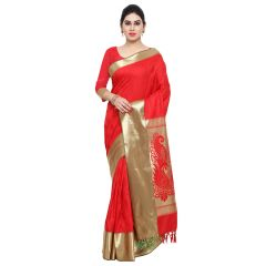 Varkala Silk Sarees Woven Self Designed Bright Red Art Silk Sarees With Blouse (AWJP7101RDRD)