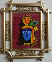 Laps Of Luxury - Krishna God Idol Wall Hanging Glass Photo Frame In Golden Colour Metal Like Border Finish (16x14 Inches)