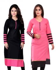 Buy 1 Miss Perfect Black Designer Long Cotton Kurti & Get 1 Pink Long Cotton Kurti Free (192141)