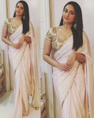 Georgette Sarees - Palash fashion Bollywood Replica Royal Looking Cream Color embroidered Fancy Designer Saree