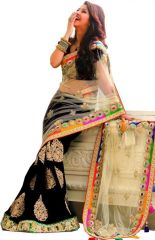Sarees (Misc) - Palash fashions Royal Looking Beige and Black Color Net and Georgette Fancy Designer Saree  (Product Code - PLS-STZ-7233)