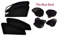 The Best Deal Zipper & Magnetic Foldable Car Sun Shades/ Curtain for Maruti Wagonr New -Set of 4