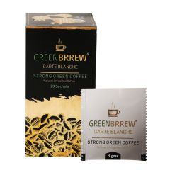 Greenbrrew Instant Green Coffee Beans Extract (Carte Blanche) - 20'sachets, 60g