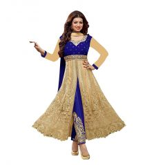 Bollywood Replica Designer Ayesha Blue Velvet Anarkali semi- stiched Suit 103F4F070DM