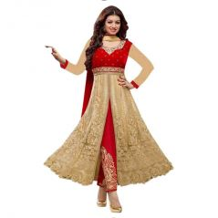 Bollywood Replica Designer Ayesha Red  Velvet semi- stiched  Anarkali Suit 103F4F071DM