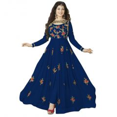 Bollywood Replica Designer Beautiful Blue Flower Printed Long Anarkali SuitSemi-Stitched Suit ( Bottom Unstitched) 116F4F22DM