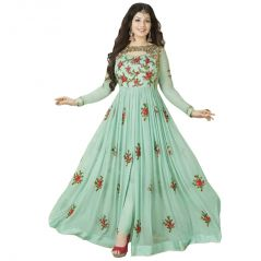 Bollywood Replica Designer Beautiful Light Green Flower Printed Long Anarkali SuitSemi-Stitched Suit ( Bottom Unstitched) 116F4F23DM