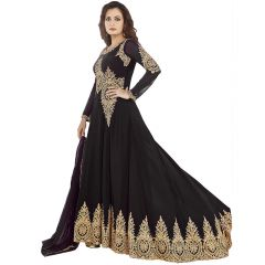 Bollywood Replica Dia Mirza Black Georgette Long Anarkali Suit 122F4F04DM