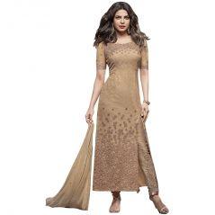 BollyWood Replica Designer Very Attractive Priyanka Chopra BEIGE Embroidered Straight Cut Salwar Kameez. - 127F4F05DM