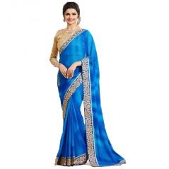 Bollywood Replica Prachi Desai Georgette Border Work Blue Plain Saree  -(code-134F4F07DM)