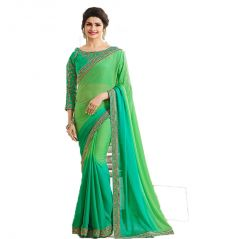 Bollywood Replica Prachi Desai Georgette Border Work Green Plain Saree - (code-134F4F09DM)