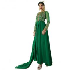 Bollywood Replica Designer Long Green Georgette Anarkali Suit 140F4F07DM