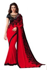 Chiffon Sarees - Nilkanth Red Embroidered Lace Border Chiffon Saree With Blouse - (product Code - Fnof003-134)