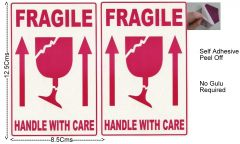 "#100 Pcs Medium  Self Adhesive STICKER ""FRAGILE"" ""HANDLE WITH CARE""  Transit Safety-ST1019"