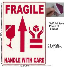 "#100 Pcs BIG Self Adhesive STICKER""FRAGILE- HANDLE WITH CARE ""Transit Safety1008"