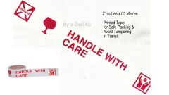 "# 3 Pcs Printed Tape  ""FRAGILE HANDLE WITH CARE"" 65MX2"" Wide Safe Packing-TA01"