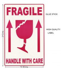 "#100 Pcs BIG GLUE STICK Label ""FRAGILE- HANDLE WITH CARE ""Transit Safety- ST1010"