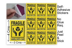 "#100 Pcs SMALL Adhesive Sticker ""FRAGIL HANDEL WITH CARE"" For Safety-ST1012"