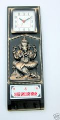 Key Holder Wall Clock With Ganesh Ji For Home & Office Decor -CW015
