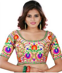 Pavitra Creation Multi colored Designer Unstitched Dhupian Blouse With Kuch Embroidery Work Chiku Blouse1