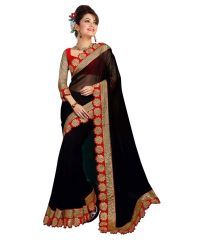 Georgette Sarees - Pavitra Creation Black Georgette Partywear Saree Embroidery Cut Work Border With Fancy Blouse Cut Rose