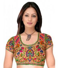 Pavitra Creation Multi colored Designer Unstitched Dhupian Blouse With Kuch Embroidery And Mirror Work Malti Blouse1