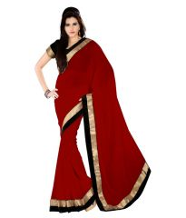Pavitra Creation Maroon Georgette Partywear Saree With Embroidered Work and Blouse Maroon Saree
