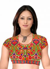 Designer Saree Blouses - Pavitra Creation Multi colored Designer Unstitched Dhupian Blouse With Kuch Embroidery And Mirror Work Mengo Blouse1