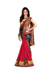 Pavitra Creation Multi Colored Georgette Partywear Embroidery&Diamond Work Half and Half Saree With Blouse Mor Saree