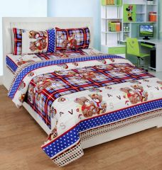 Zesture Double Bed Sheets - Zesture Polycotton 3d Printed Double Bedsheet With 2 Pillow Cover (premiumpcd006)
