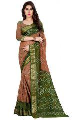 Cotton Sarees - Thankar Cream & Green Cotton Silk Bandhani Saree Tds165-5004p