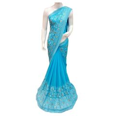 Georgette Sarees - Riva Enterprise Light Blue Georgette Embroidery Border Work Fancy Saree - RIVA55