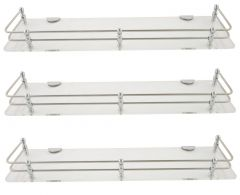 Horseway White (Clear) Acrylic and Stainless Steel Railing Wall Shelf - 18x5 Inch - Set of 3
