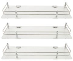 Horseway White (Clear) Acrylic and Stainless Steel Railing Wall Shelf - 12x5 Inch - Set of 3