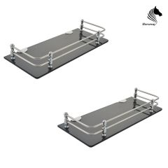 Horseway Black Acrylic and Stainless Steel Railing Wall Shelf - 15x5 Inch - Set of 2